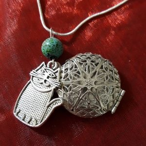 Jewelry - Cat Essential Oil Diffuser Pendant Sterling Chain